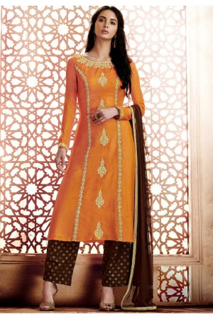 Orange georgette straight cut salwar 1042A