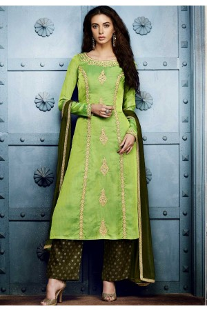 Parrot green georgette straight cut salwar 1042B