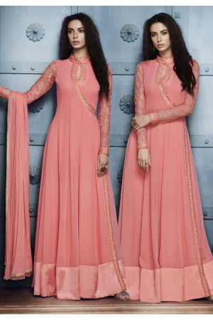 Peach georgette straight cut salwar 1041B