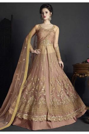 Peach net wedding ghagra choli style 10002