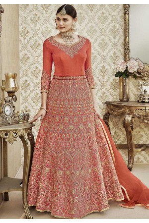 Peach thapa silk wedding wear anarkali 4406