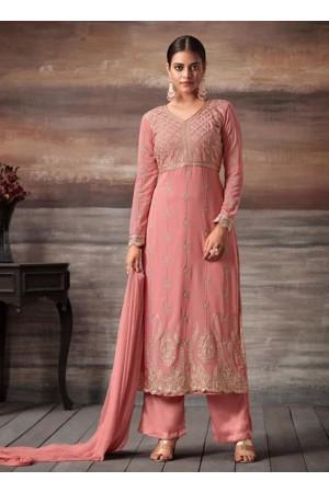 Pink color georgette straight cut salwar kameez 48005