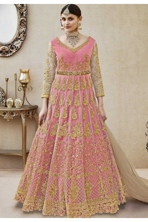 Pink color net wedding anarkali 4404