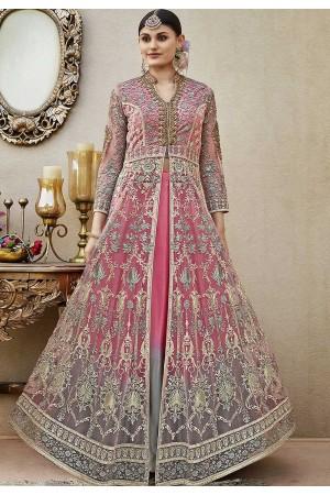 Pink net wedding lehenga kameez 4409