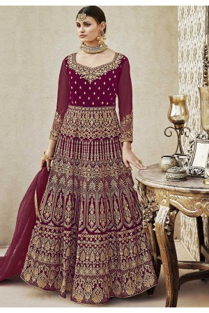 Purple color velvet wedding anarkali 4401