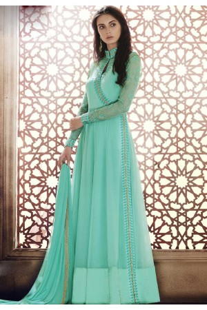Sea green georgette straight cut salwar 1041A