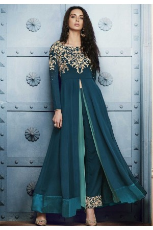 Teal green georgette straight cut salwar 1044B
