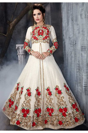 White net wedding anarkali 7011
