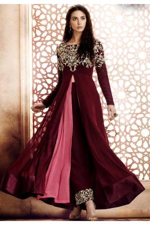 Wine pink georgette straight cut salwar 1044A