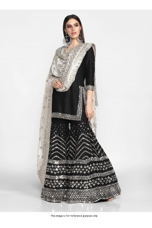 Bollywood Inspired silk Black wedding sharara set