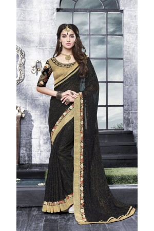 Party-wear-Chikoo-black-color-saree