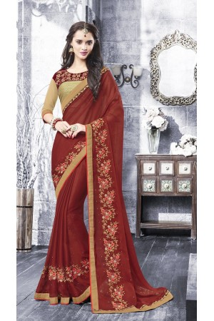 Party-wear-maroon-beige-color-saree