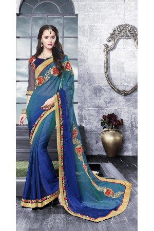 Party-wear-multi-Blue-color-saree