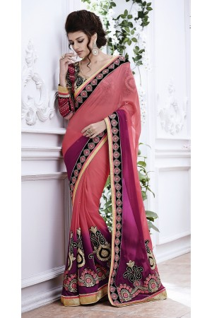 Party-wear-peach-wine-color-saree