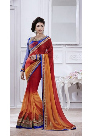 Party-wear-Orange-Red-Blue-color-saree