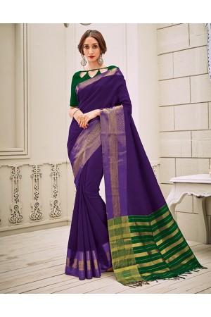 Aamilah Aster Purple Festive wear cotton saree