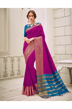 Aamilah Jazzy Pink Festive wear cotton saree