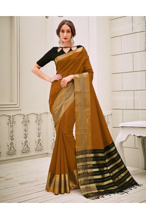 Aamilah Mustard Brown Festive wear cotton saree