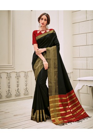 Aamilah Onyx Black Festive wear cotton saree