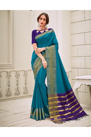 Aamilah Peacock Blue Festive wear cotton saree