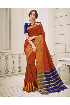Aamilah Rust Orange Festive wear cotton saree