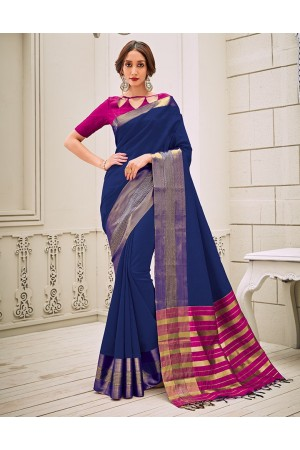 Aamilah Sapphire Blue Festive wear cotton saree