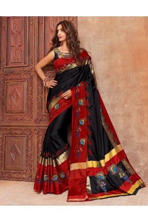Aangi Mayura Blazing Black Wedding Wear Cotton Saree