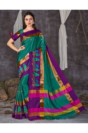 Aangi Pankhi Azure Blue Festive Wear Cotton Sarees