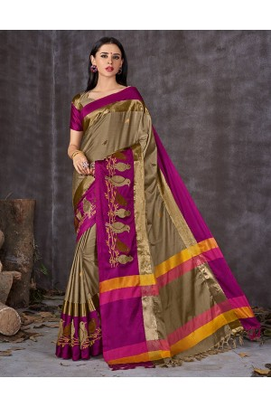 Aangi Pankhi Duskin Beige Festive Wear Cotton Saree