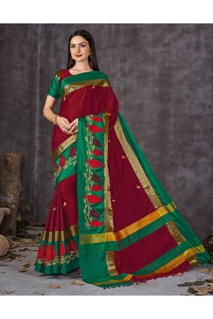 Aangi Pankhi Flamming Red Festive Wear Cotton Saree