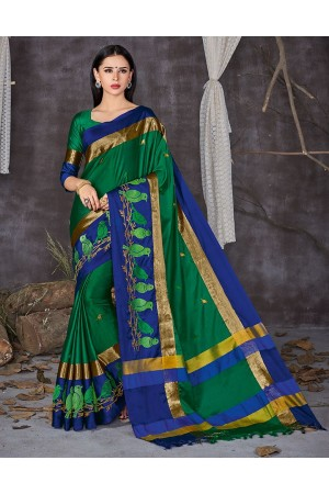 Aangi Pankhi Forest Green Festive Wear Cotton Saree