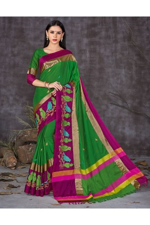 Aangi Pankhi Holy Green Festive Wear Cotton Saree