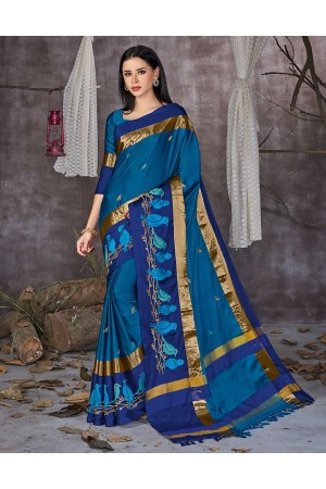 Aangi Pankhi Peacock Blue Festive Wear Cotton Saree