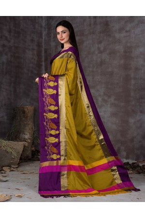 Aangi Pankhi Sunshine Golden Festive Wear Cotton Saree