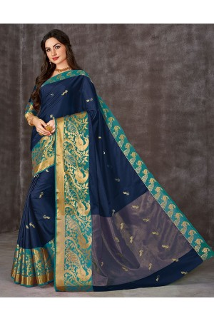 Ahaana Deep Blue Cotton Saree