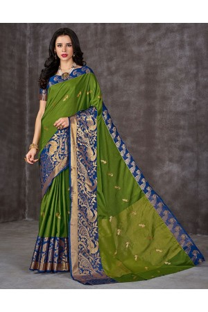 Ahaana Fawn Green Cotton Saree