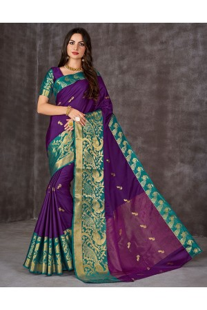 Ahaana Wine Magenta Cotton Saree