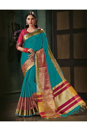 Amani Aqua Blue Wedding Wear Cotton Saree