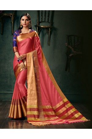 Amani Coral Pink Wedding Wear Cotton Saree