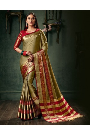 Amani Duskin Beige Wedding Wear Cotton Saree
