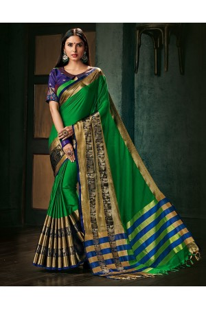 Amani Lush Green Wedding Wear Cotton Saree