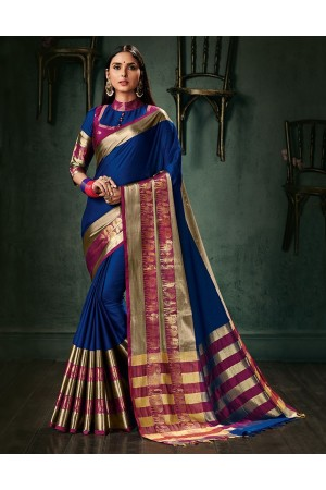 Amani Sapphire Blue Wedding Wear Cotton Saree