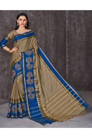 Anaika Mayuri Duskin Beige Festive Wear Cotton Saree