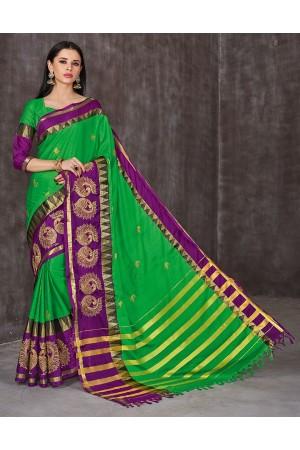 Anaika Mayuri Lush Green Festive Wear Cotton Saree
