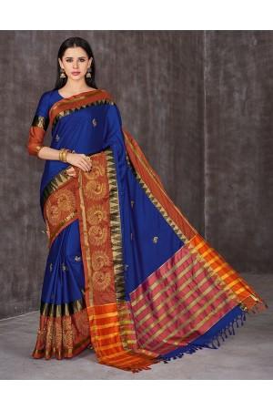 Anaika Mayuri Sapphire Blue Festive Wear Cotton Saree