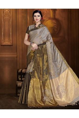 Aryaa Aabha Ash Grey Festive Wear Cotton Saree