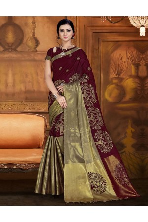Aryaa Aabha Chocolate Brown Festive Wear Cotton Saree
