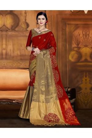 Aryaa Aabha Currant Red Festive Wear Cotton Saree