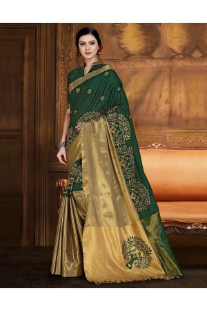 Aryaa Aabha Emerald Green Festive Wear Cotton Saree