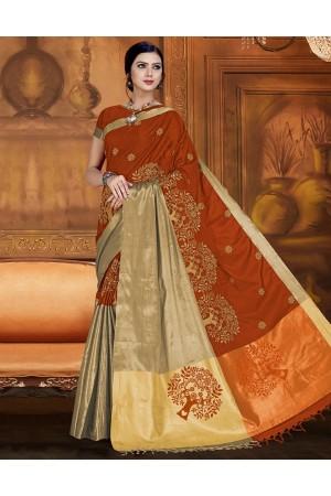 Aryaa Aabha Tangy Orange Festive Wear Cotton Saree
